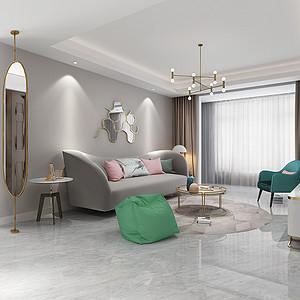 简美式-客厅沙发背景墙