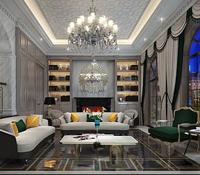 西西安别墅美式轻奢风格客厅装修效果图
