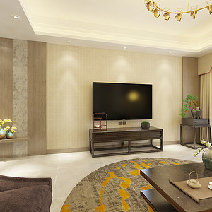 客厅:木质墙板简单的应用,白橡木浅灰色的处理,让木饰面多了一份时尚和沉稳。壁纸简单的中式元素通铺整个公共区域,为风格奠定了基础。