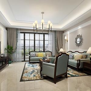 厚街君汇华庭装修效果图-179㎡美式四房二厅装修案例