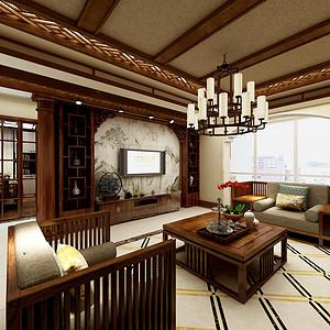 仁恒美林郡-170平米-新中式风格装修案例效果图