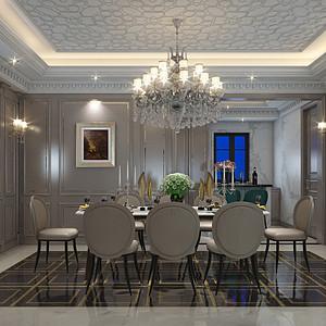 西西安别墅美式轻奢风格餐厅装修效果图