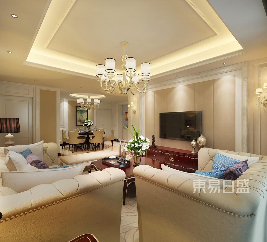欧式客厅采用暖色调是的空间典雅,优美