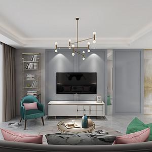 简美式-客厅电视背景墙