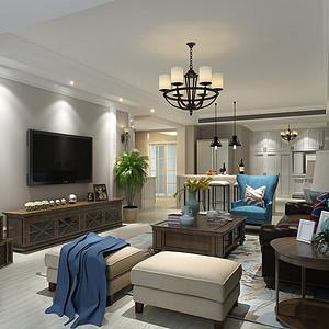 建发天府鹭洲140平米三居室现代美式风格