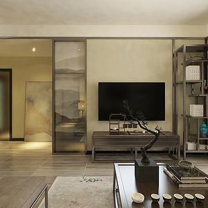 客厅三居室-新中式-装修效果图