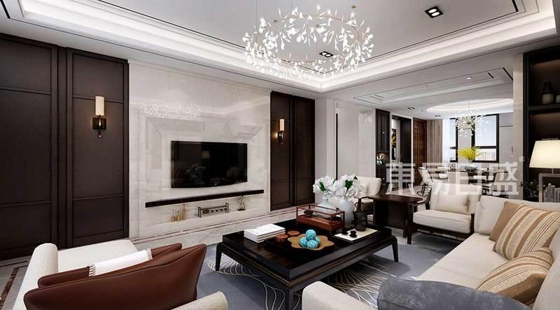新中式 - 客厅白色系石材背景墙与深咖色系硬包