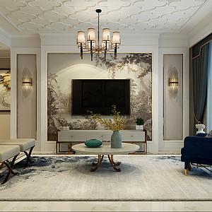 新合作广场125㎡三室二厅简欧风格装修案例