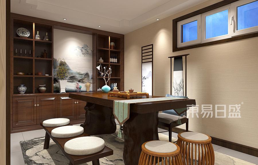 吉宝新中式风格地下茶室装修效果图