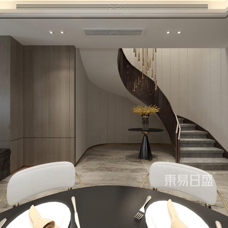 现代轻奢风格别墅楼梯装修设计效果图