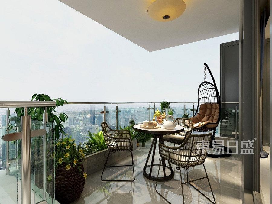 蔚蓝卡地亚花园城249㎡四居室新美式风格阳台装修效果图