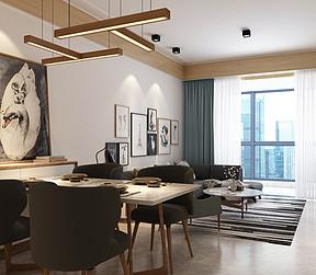 万达西地93㎡现代风格餐厅