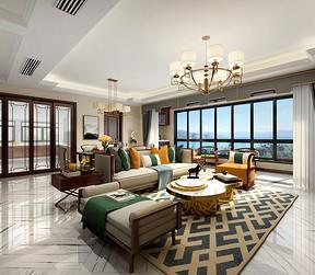 国悦府新中式风格客厅效果图