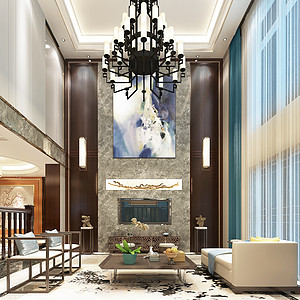 昆明马可波罗半岛别墅760平米新中式风格装修效果图