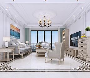 东城万达公馆现代美式客厅装修效果图