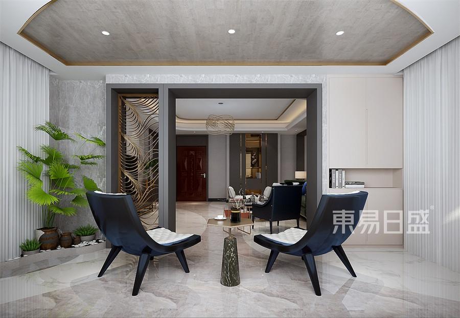 四居室-现代轻奢-客厅阳台-效果图