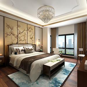 国悦府新中式风格卧室效果图