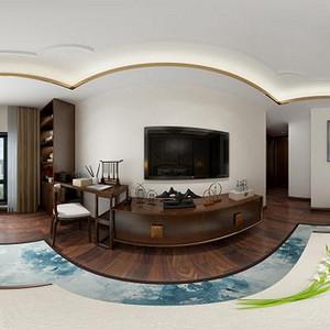 国悦府新中式风格卧室全景效果图