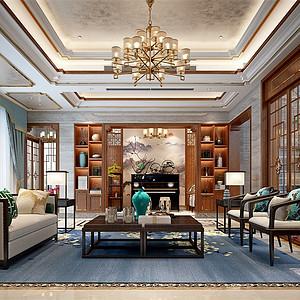 香山湖1号370㎡新中式风格客厅