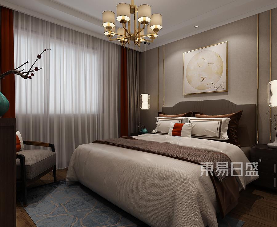 铂悦山新中式风格主卧室装修效果图