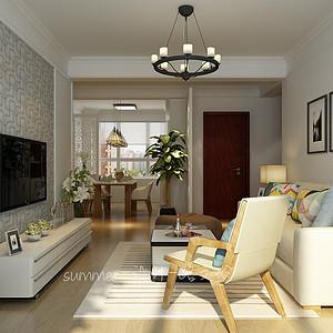 保利花园97平二室二厅现代简约风格装修案例