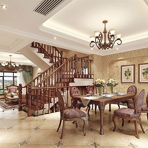 230㎡别墅美式风格餐厅效果图