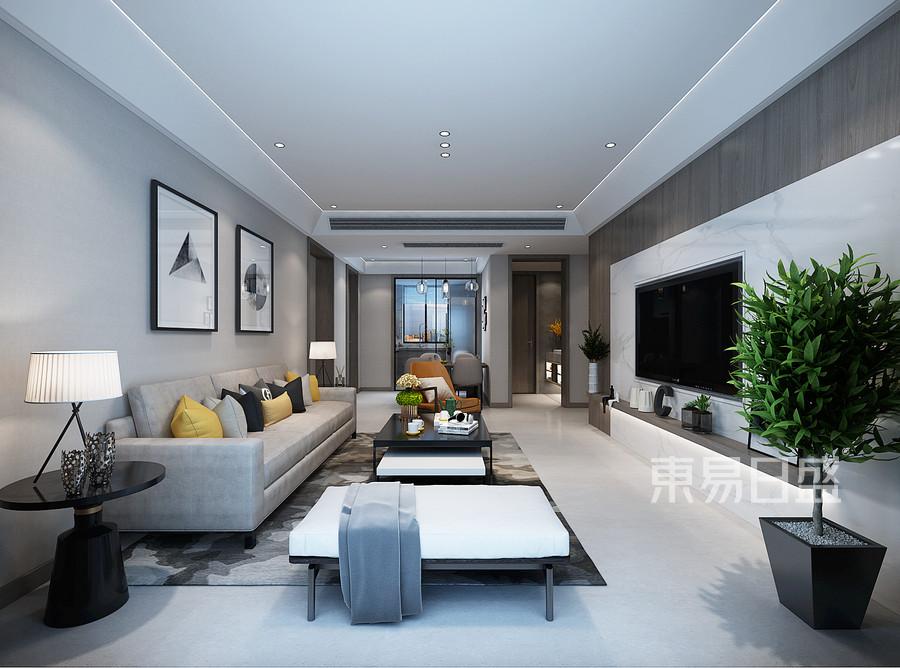 现代新极简风格客厅装修设计效果图_2019装修案例图片