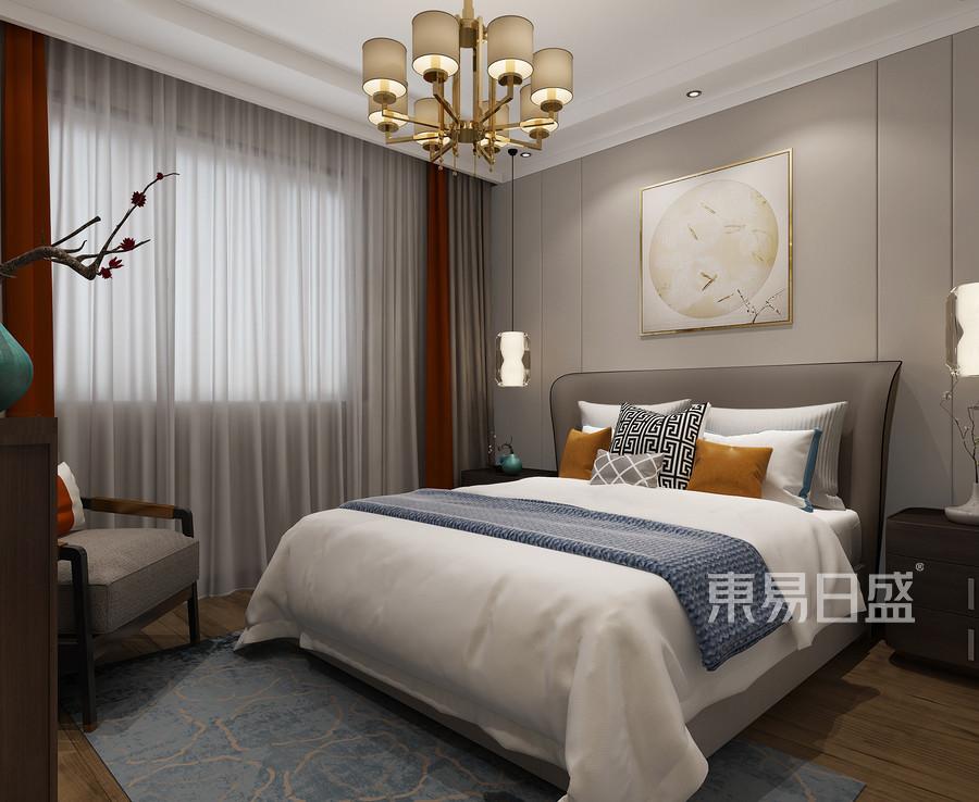 铂悦山新中式风格卧室装修效果图效果图_2018装修案例