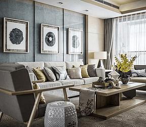 银河国际新中式风格客厅装修效果图