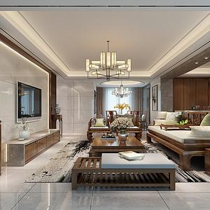 恒安花园 新中式装修效果图 160平米 四室两厅两厅户型设计