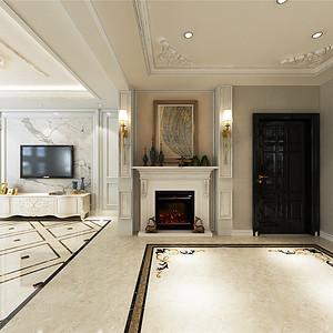 保利罗兰简欧风格一楼门厅装修效果图