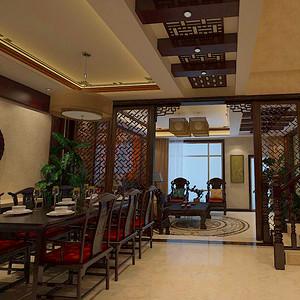 别墅装修效果图-青岛小镇-新中式风格