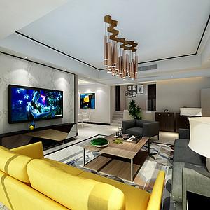 新鸿苑145㎡四居室现代风格效果图