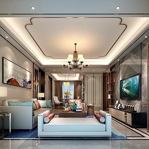 东城鼎峰尚境装修案例 160㎡新中式四房二厅装修效果图