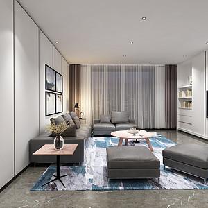 昆明九夏云水180㎡四室两厅一厨两卫现代极简装修风格效果图