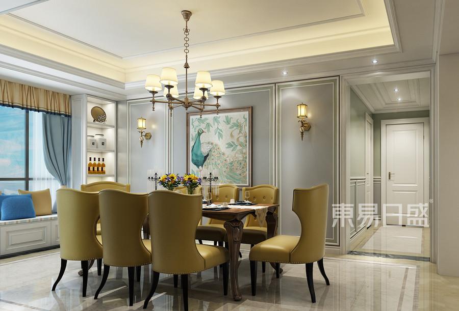 餐厅圆形的吊顶与地面造型遥相呼应,家具多选用有弧形线条造型来搭配