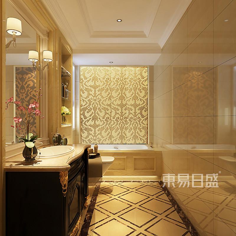 欧式古典 - 主卫生间一进门的地面造型与顶面造型呼