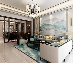大连新中式装修-客厅