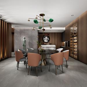 四居室-现代简约-效果图-餐厅