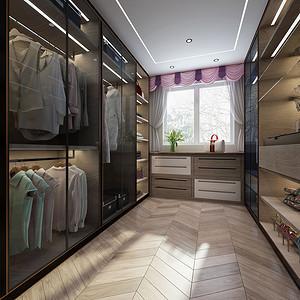 衣帽间:实木地板和木色的玻璃柜十分协调,整个衣帽间显得非常的大方;没有多余的装饰来点缀,层次的拉柜设