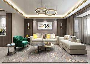 三居室-现代轻奢-客厅沙发背景墙-效果图