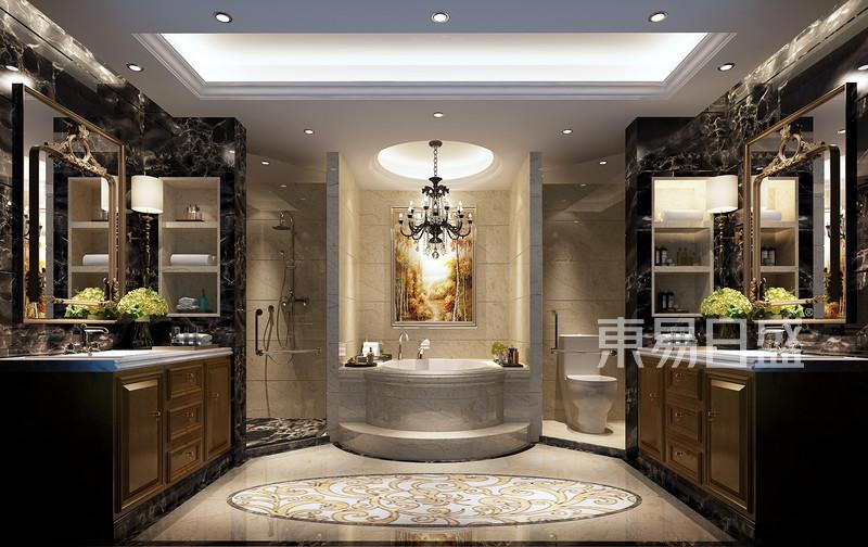 卫生间干湿分离设计,中间浴缸隔开