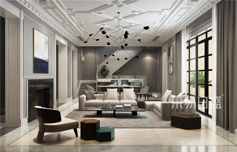 现代法式风格可客厅效果图_2018装修案例图片-装饰