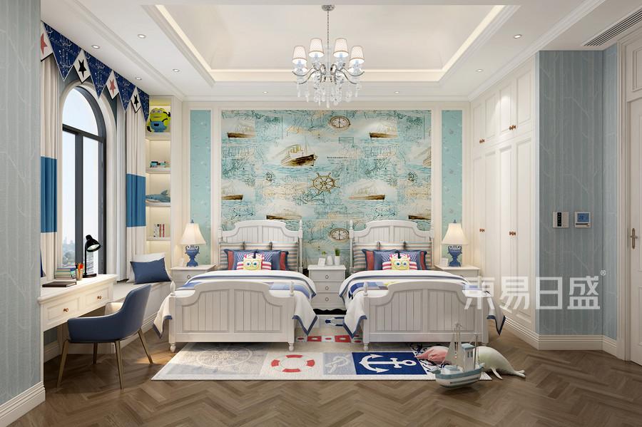阳江玫瑰郡280㎡法式风格联排别墅男孩房装修效果图