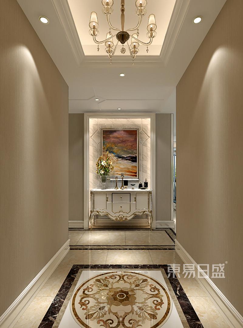 门厅端景设计石材,灯带,造型简洁,搭效果图_装修效果