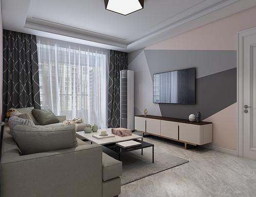 国宅华府93平二室二厅北欧风格装修效果图
