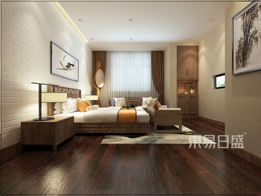 主卧效果图: 床头背景墙用白色硅藻泥