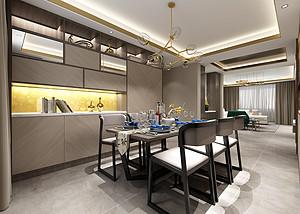 三居室-现代轻奢-餐厅-效果图