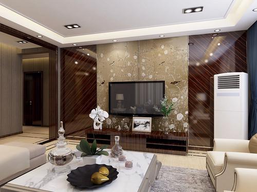 国宅华府128平三室二厅新中式风格装修效果图