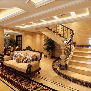 上海罗山绿洲别墅-欧式古典-楼梯间